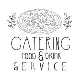 Best Food And Drink Catering Service Hand Drawn Black And White Sign With Pizza Design Template With Calligraphic Text Stock Photos