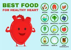 Best food for healthy heart. Strong heart stock illustration