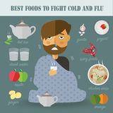Best food to fight cold and flu. Eps10 format Stock Images
