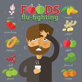 Best food to fight cold and flu. Eps10 format Stock Image