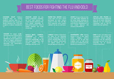 Best foods for fighting the flu and cold. Royalty Free Stock Photos