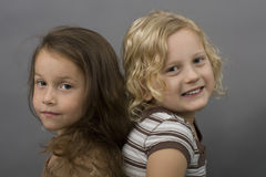 Best friend. Two best friend isolated on a gray background Stock Photos