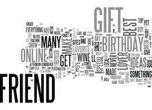 Best Friend Birthday Gift Ideas Word Cloud. BEST FRIEND BIRTHDAY GIFT IDEAS TEXT WORD CLOUD CONCEPT Stock Image