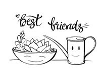 Best friends botany illustration. Cartoon succulent in a stock illustration