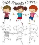 Best friend doodle graphic stock illustration