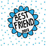 Best friend emblem flower with blue circle Royalty Free Stock Image