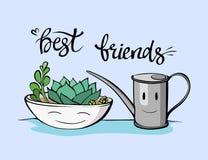 Best friends succulent illustration. Hand drawn friendship phrase. stock illustration