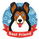 Best friend symbol. Dog pet face with red ribbon Royalty Free Stock Images
