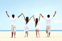 Best friend in white together holding and raise each other hand Stock Photo