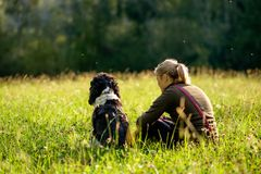 Free Best Friend, Woman And Dog, Sitting On A Meadow. Stock Image - 100402631