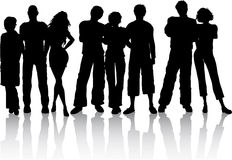 Best friends. Silhouettes of male and female friends Royalty Free Stock Photography