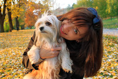 Young women holding her lhasa apso puppy after playing in the park Royalty Free Stock Photo