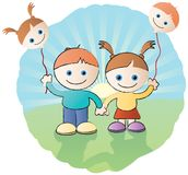 Best Friends. Holding hands and balloons with their faces on Royalty Free Stock Photos