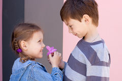 Best friends. Little boy giving a flower to little girl Royalty Free Stock Photography