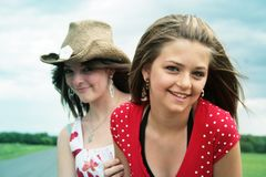 Best friends. Complicity between two beautiful teenager stock photography