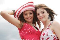 Best friends. Complicity between two beautiful teenager stock photo