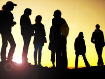 Best friends. Silhouettes posing for a picture royalty free stock photography