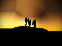 Best friends. Silhouettes posing for a picture stock photography