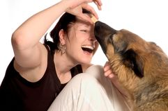 Best friends. Woman and her dog Stock Images