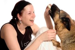 Best friends. Woman and her dog Royalty Free Stock Photos