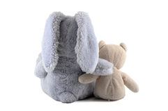 Best friends. Bunny and bear best friend isolated on a white background Royalty Free Stock Photos