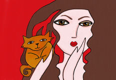 Best Friends. Illustration of a woman with her best friend, Cat Royalty Free Stock Photography
