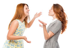 Best friends are arguing on a white background Stock Photo
