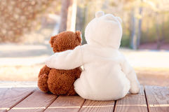 Best Friends. Baby hugging teddy bear on a wooden porch Stock Photography