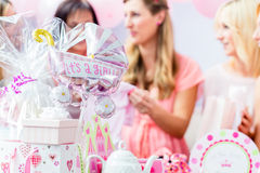 Best Friends on baby shower party celebrating Stock Images