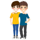 Best Friends Boys. Two young happy teenager best friends boys standing isolated on white background Royalty Free Illustration