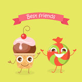 Best Friends Caramel Candy and Cupcake Characters. Best friends caramel candy and cupcake smiling characters. Funny sweet cartoon happy dancing sweets Royalty Free Stock Photography