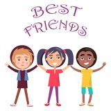 Best Friends Celebrate Holiday for Children Vector. Best friends celebrate global holiday for children. International smiling young kids wishes happy global stock illustration