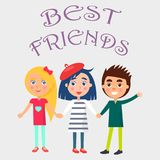 Best Friends Celebrate Holiday for Children Vector. Best friends celebrate international holiday for children. Smiling young kids wishes happy global childrens Royalty Free Stock Images