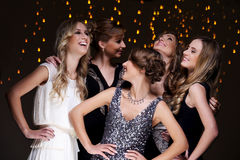Best friends celebrating new year party. Girls have a new year party celebration Royalty Free Stock Image