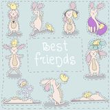 Best friends chick and rabbit. On blue background Royalty Free Stock Photos