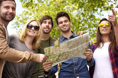 Best friends in the city. Group of people looking for their destination Royalty Free Stock Images