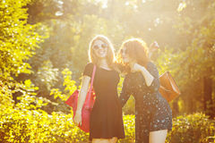 Best friends in a city park. Royalty Free Stock Photo