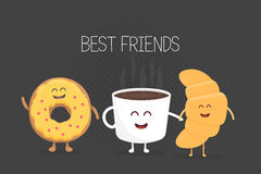 Best Friends coffee, croissant and donut character  illustration set.  Royalty Free Stock Photography