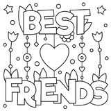Best friends. Coloring page. Vector illustration. Royalty Free Stock Photography