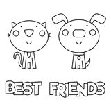 Best friends. Coloring page. Vector illustration. Black and white vector illustration. Best friends Stock Images