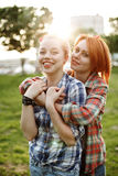 Best friends concept, two young female Stock Photos