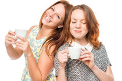 Best friends with cups Stock Photo