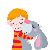 Best Friends. Cute Cartoons Boy And Rabbit. Suitable For Easter Design. Royalty Free Stock Image
