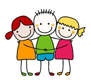 Best friends. Cute girls and boy hugging stock illustration