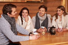 Best friends drinking hot tea in cosy kitchen at winter cottage Royalty Free Stock Images