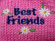 Best Friends embroidery. On a pink knitted baby sweater Royalty Free Stock Images