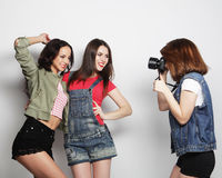 Best friends enjoying the moment with camera Royalty Free Stock Photography