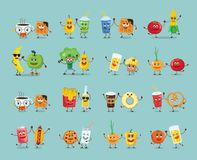 Best friends food characters with emotions Stock Photos