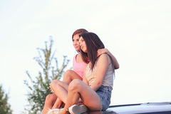 Best Friends Forever. BFF. Two cute girls at street Stock Photography