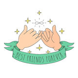 Best friends forever cartoon style little fingers with infinity sign, ribbon and stars. Stock Photo